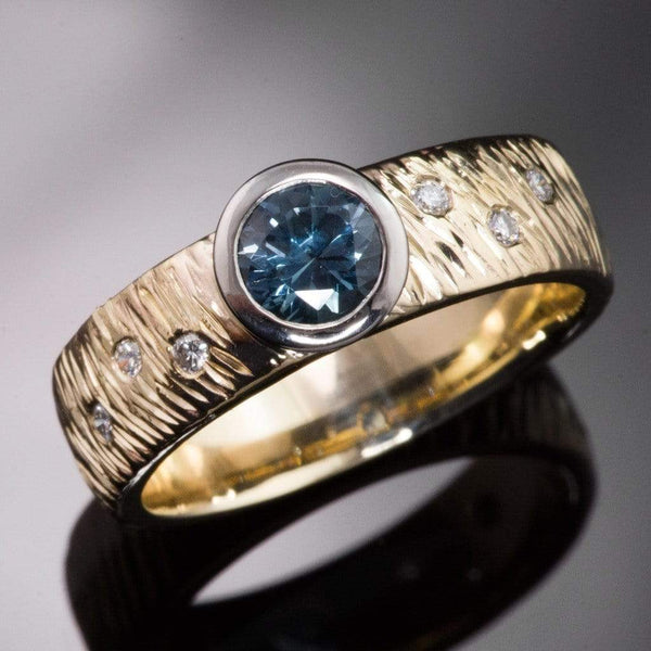 Rasp Textured Engagement Ring with Fair Trade Round Teal Montana Sapphire & Diamonds Accents - by Nodeform