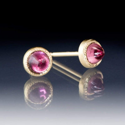 Rhodolite Garnet Cabochon 14k Yellow Gold Textured Bezel Stud Earrings, Ready to Ship