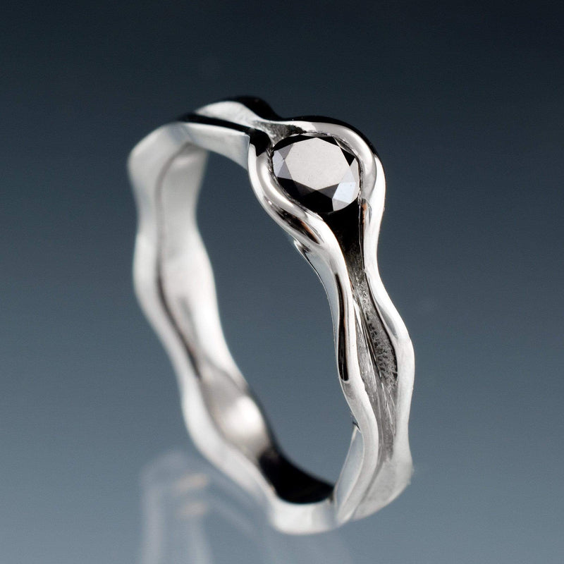 Wave Black Diamond Engagement Ring - by Nodeform