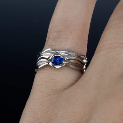 Wave Blue Sapphire Engagement Ring Bridal Set