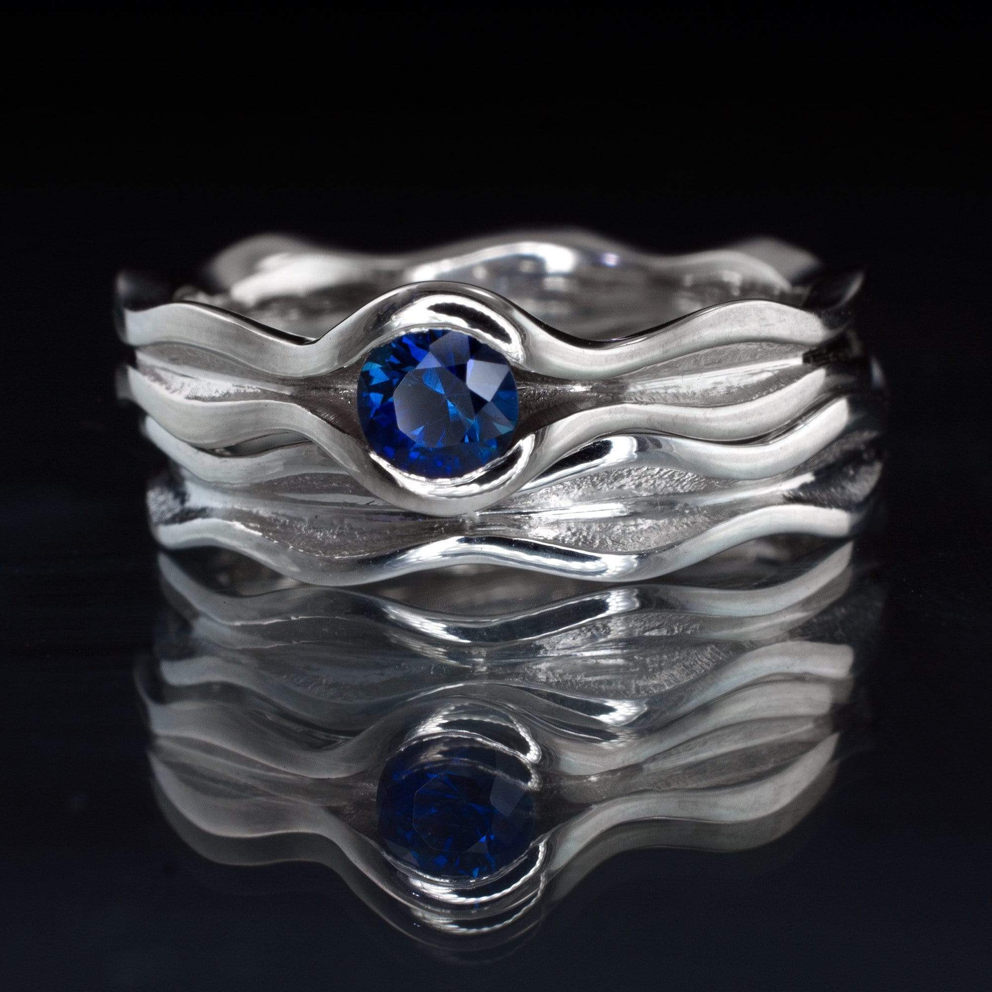 Wave Blue Sapphire Engagement Ring Bridal Set - by Nodeform