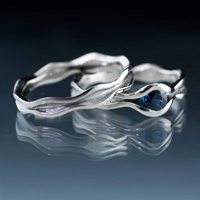 Wave Blue Sapphire Engagement Ring Bridal Set 4mm / Palladium Ring