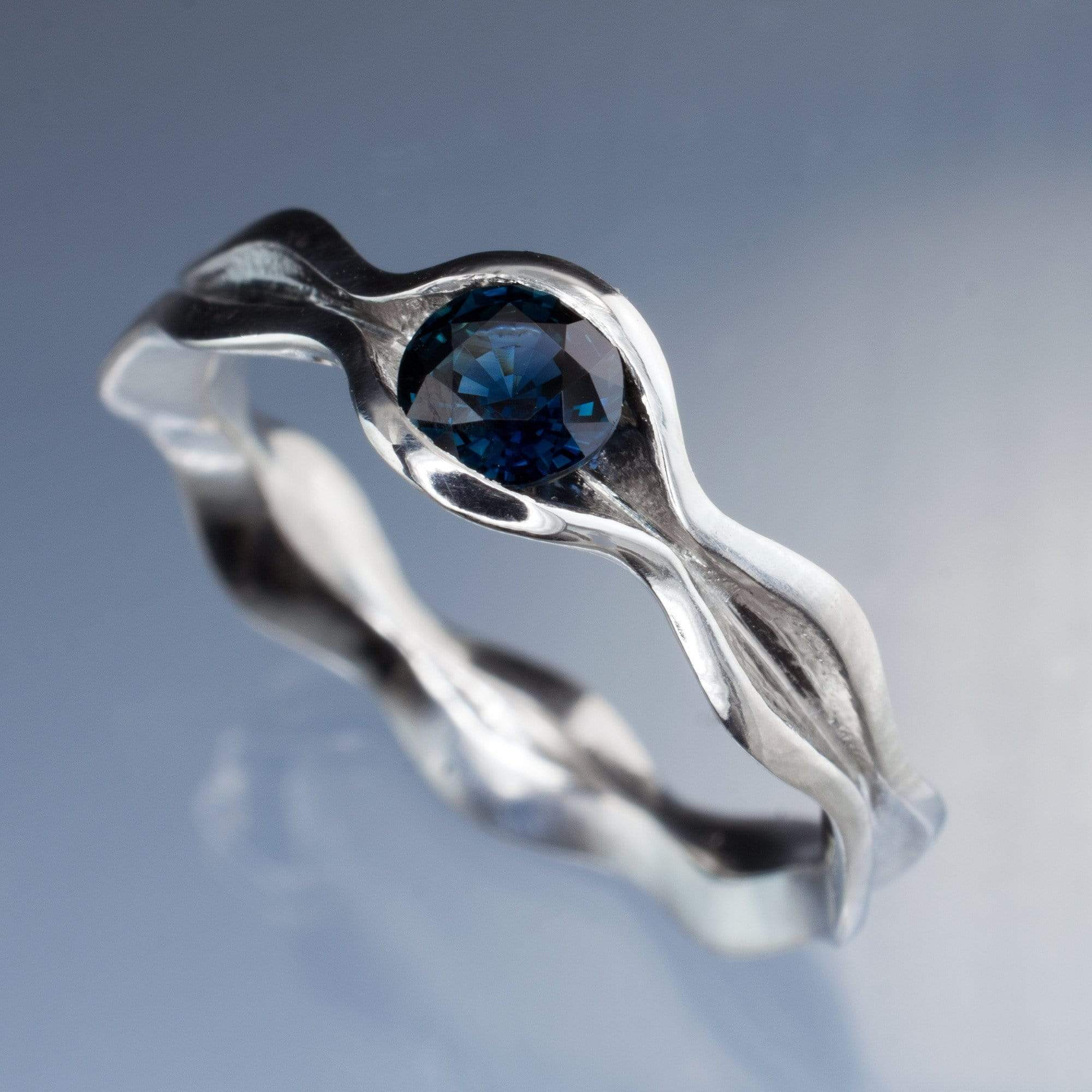 Wave Blue Sapphire Engagement Ring - by Nodeform