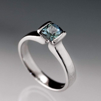Cushion Teal Green/Blue Fair Trade Sapphire Modified Tension Engagement Ring - by Nodeform