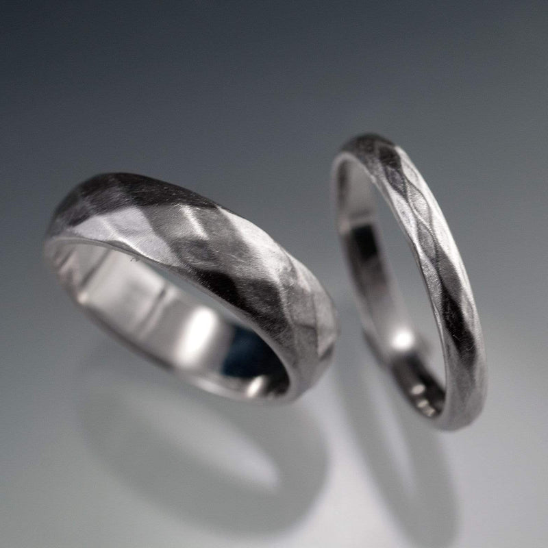 Diamond Facet Texture Wedding Bands, Set of 2 Wedding Rings