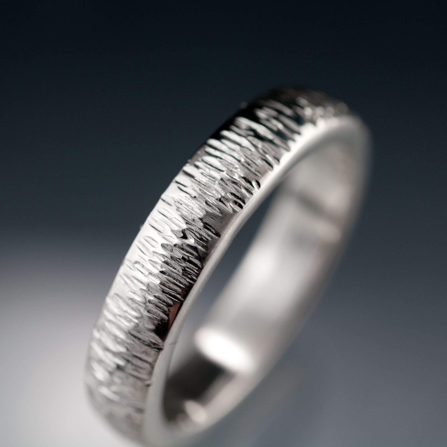 Textured Wedding Band with Hammered Line Texture Sterling Silver / 3 Ring