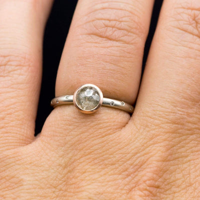Mixed Metal Rose Cut Misty Diamond Rose Gold Bezel White Gold Engagement Ring, Ready to size 4 to 9