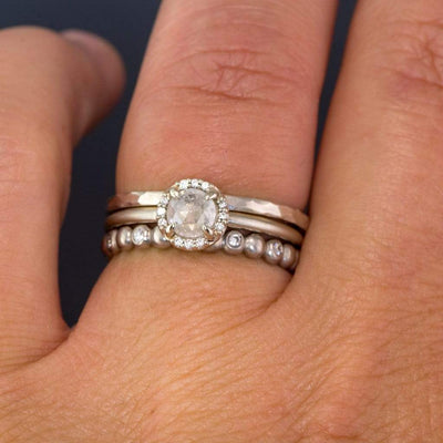 Rose Cut Ice Gray Diamond & White Diamond Halo Engagement Ring