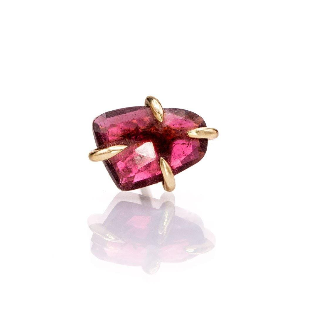 Pink Rose Cut Freeform Tourmaline Rubellite 14k Yellow Gold Prong Single Stud Earring, Ready to Ship - Nodeform