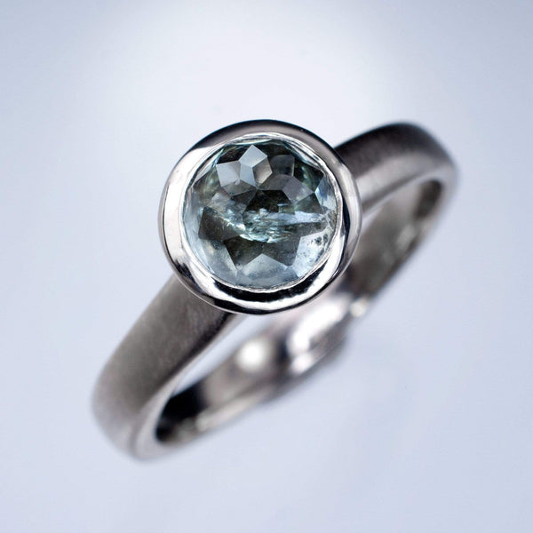 Rose cut green-blue montana sapphire solitaire engagement rings