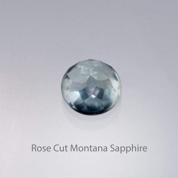 Rose Cut Montana Sapphire Bezel Solitaire Engagement Ring