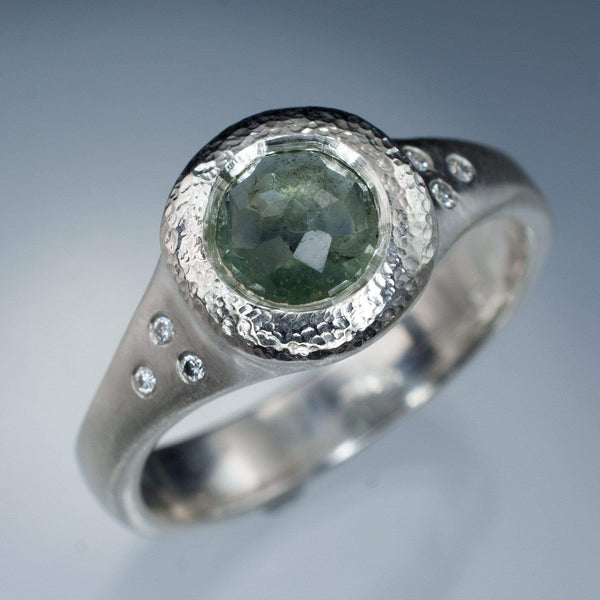 Rose cut minty green montana sapphire diamond accented engagement ring