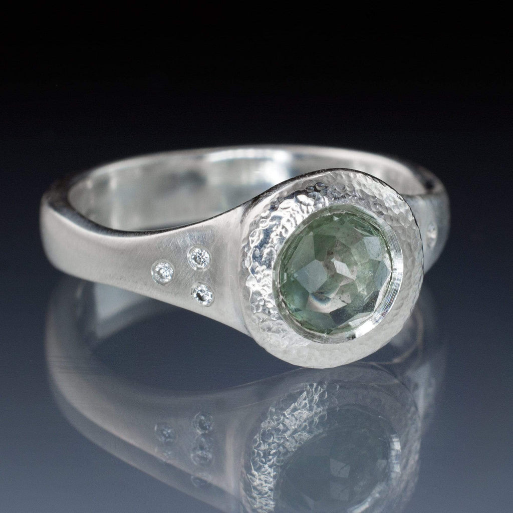 twisted earth ring aquamarine with accented diamond rings stone brilliant custom engagement three accents
