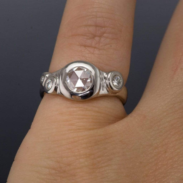 Rose Cut Round Moissanite Buds Engagement Ring