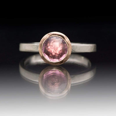 Mixed Metal Bezel Set Rose Cut Pink Tourmaline Stacking Ring, size 4 to 9
