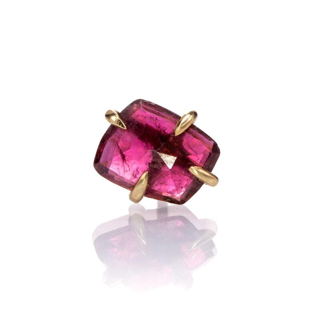 Pink Rose Cut Tourmaline Rubellite 14k Yellow Gold Prong Single Stud Earring, Ready to Ship