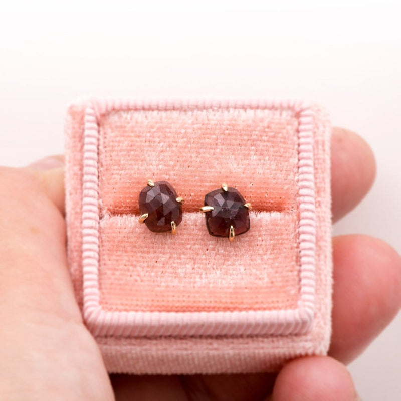 Pink Rose Cut Tourmaline Rubellite 14k Yellow Gold Prong Stud Earrings, Ready to Ship