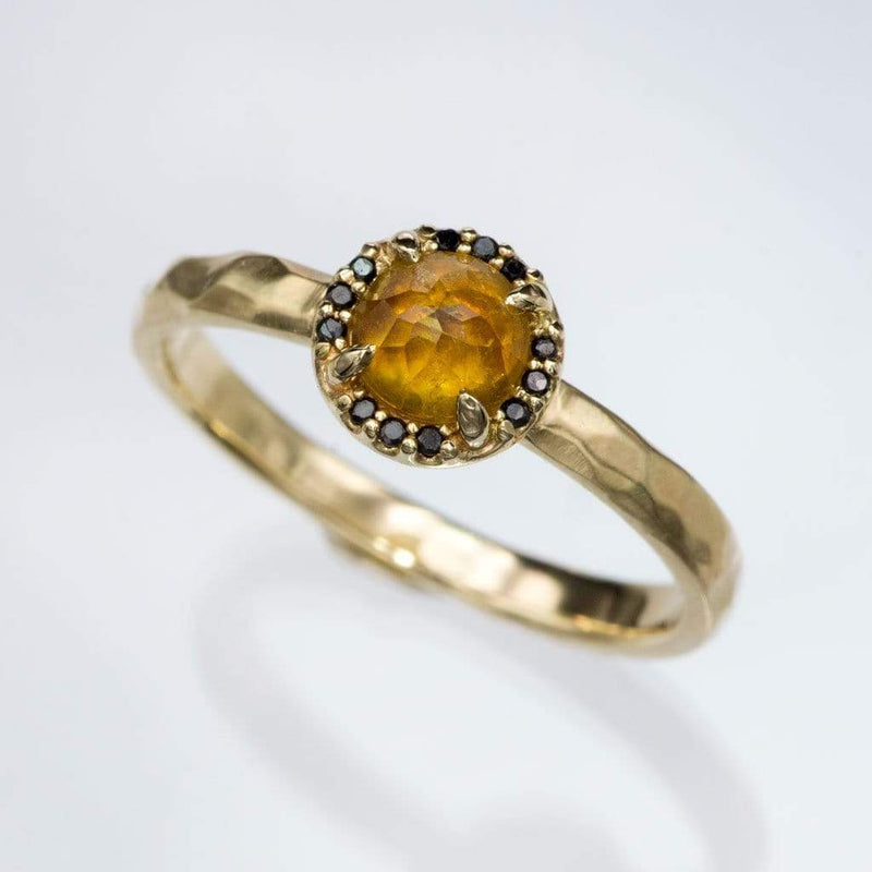 Yellow Rose Cut Sapphire & Black Diamond Halo Yellow Gold Engagement Ring, size 4 to 9