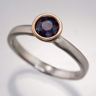 Mixed Metal Chatham Alexandrite Bezel Engagement Ring - by Nodeform