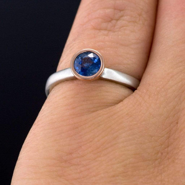 Mixed Metal Chatham Blue Sapphire Bezel Engagement Ring
