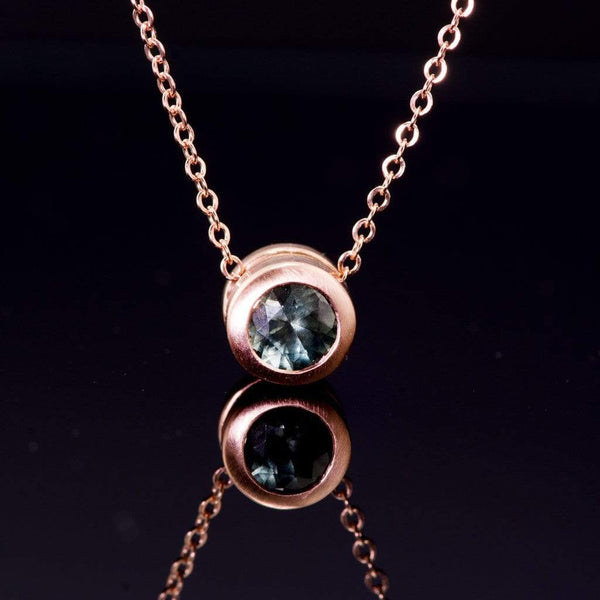 Teal Green Fair Trade Montana Sapphire Round Rose Gold Slide Pendant Necklace, Ready to ship - by Nodeform