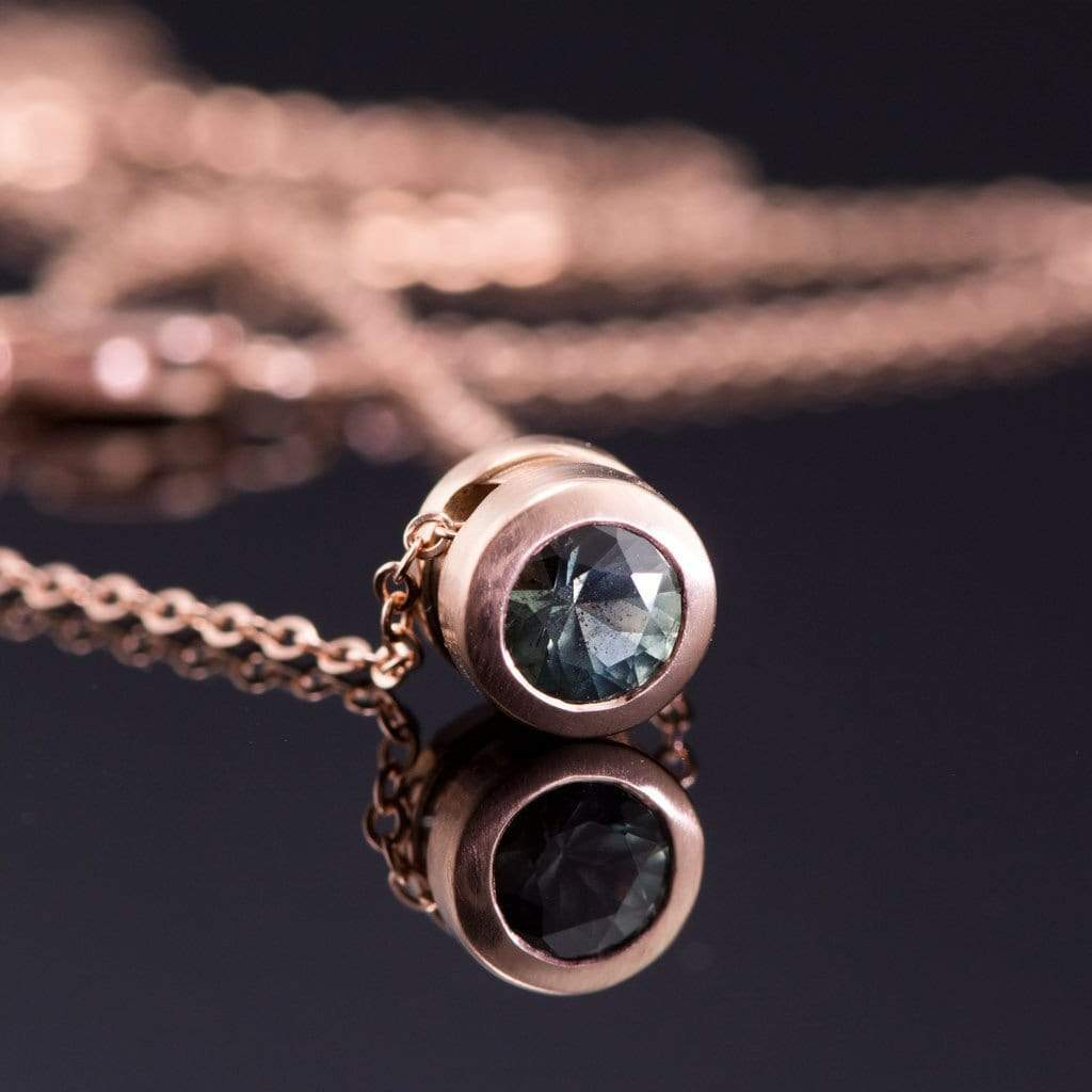 Teal green montana sapphire round rose gold slide pendant necklace teal green fair trade montana sapphire round rose gold slide pendant necklace ready to ship aloadofball Image collections
