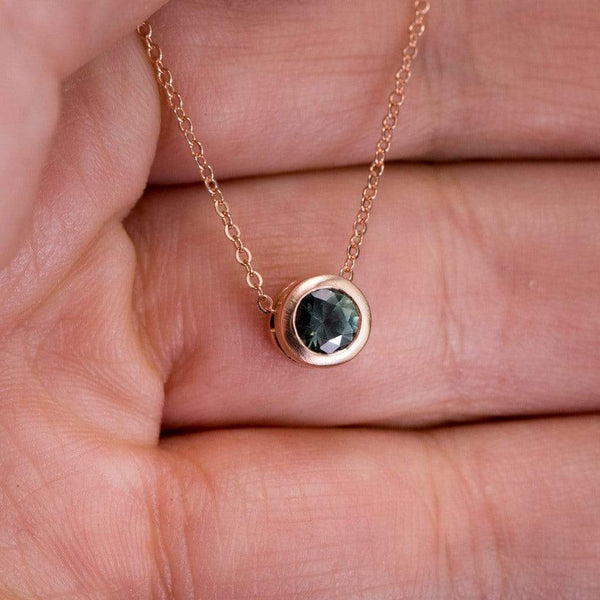 Teal Blue/Green Fair Trade Montana Sapphire Round Slide Pendant Necklace