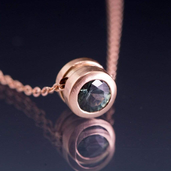 Teal Green Fair Trade Montana Sapphire Round Rose Gold Slide Pendant Necklace, Ready to ship