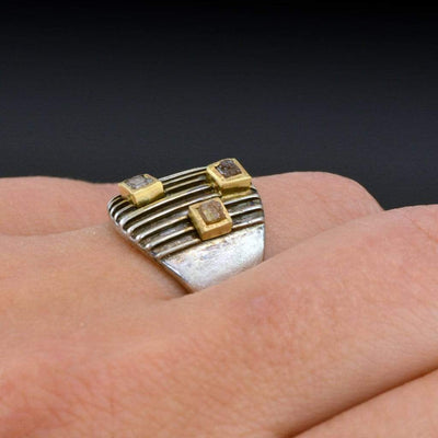 Striped Armor Rough Diamond Ring, 14kY & Sterling Silver Cocktail Ring, size 6 to 9 - by Nodeform
