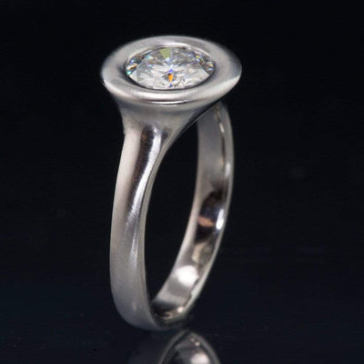 Round Moissanite Low Profile Halo Bezel Solitaire Engagement Ring
