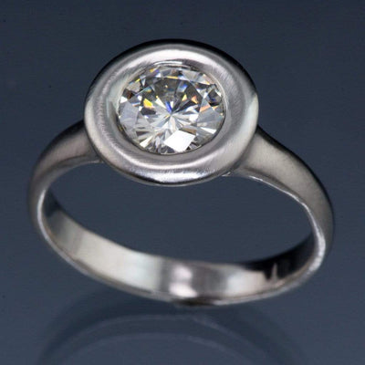 Round Moissanite Low Profile Halo Bezel Solitaire Engagement Ring - by Nodeform