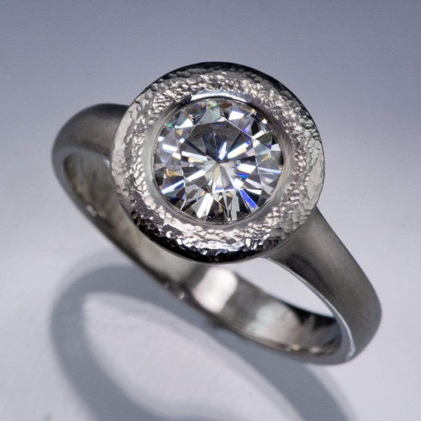 Round Moissanite Low Profile Textured Halo Bezel Solitaire Engagement Ring