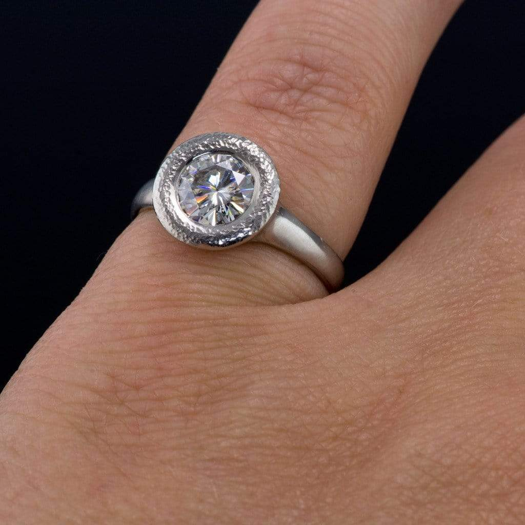 moissanite low profile halo bezel solitaire engagement ring