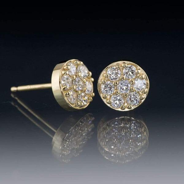 3/8CTW  Diamond, Moissanite or Sapphire Cluster Stud Earrings - by Nodeform