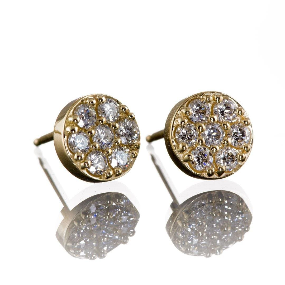 3/8CTW  Diamond, Moissanite or Sapphire Cluster Stud Earrings