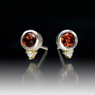 Garnet Bezel Set Sterling Silver Stud Earrings With Yellow Gold Moissanite Accents, Ready to Ship