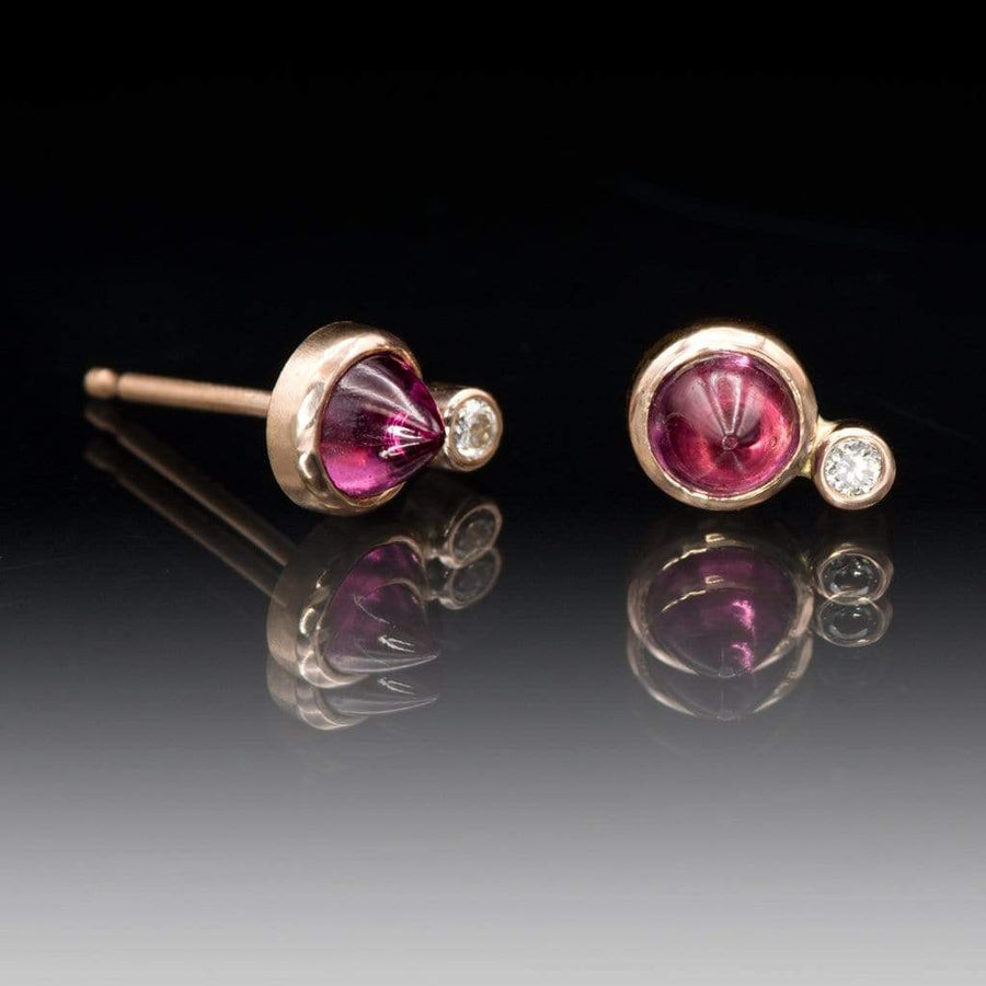 Rhodolite Garnet Cabochon & Moissanite 14k Rose Gold Bezel Stud Earrings, Ready to Ship