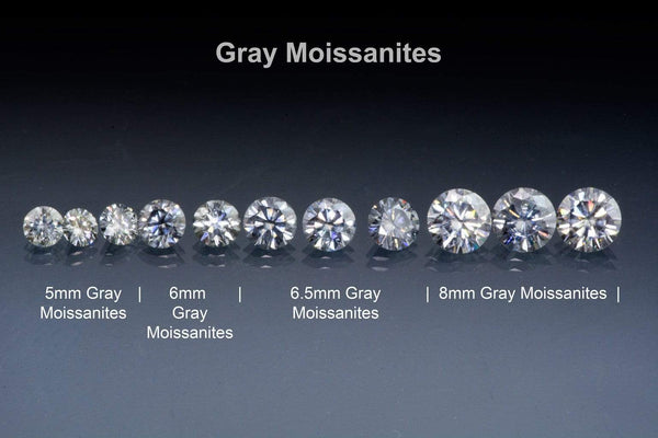 gray moissanites brilliant cut round