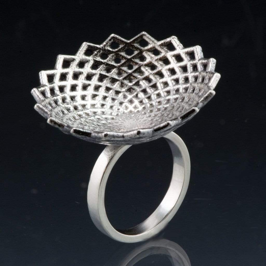 Round Lattice Statement Sterling Silver Cocktail Ring - by Nodeform