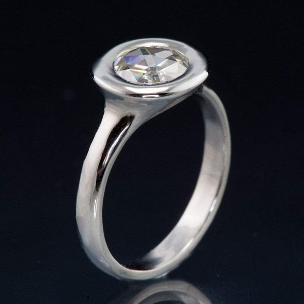 Round Rose Cut Moissanite Low Profile Halo Bezel Solitaire Engagement Ring