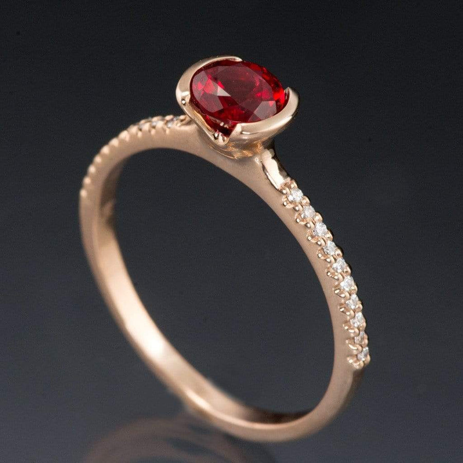 Chatham Ruby Round Half Bezel Diamond Micro Pave Engagement Ring - by Nodeform