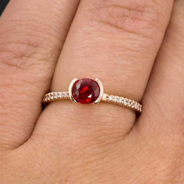 Chatham Ruby Round Half Bezel Diamond Micro Pave Engagement Ring