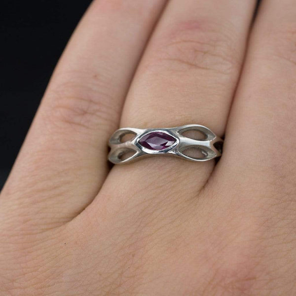 Pink Sapphire /  Ruby Honeycomb Engagement Ring in Palladium size 7 - by Nodeform