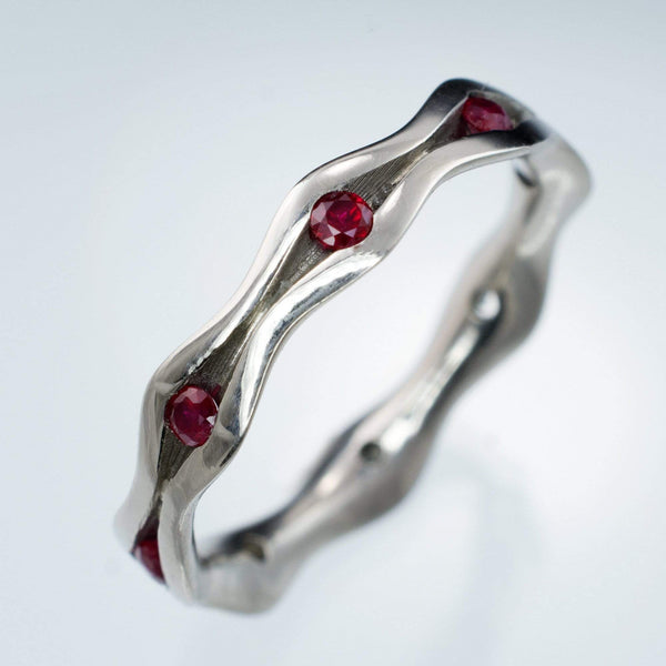 Wave Ruby Eternity Wedding Ring Anniversary Band in Silver/Palladium, size 7.75 to 8 - by Nodeform