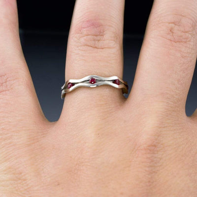 Wave Ruby Eternity Wedding Ring Anniversary Band in Silver/Palladium, size 7.75 to 8