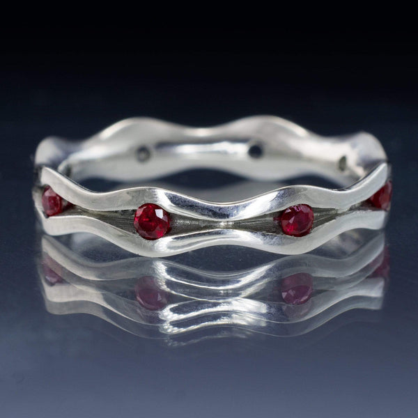ruby wave eternity anniversary stacking ring in palaldium, white gold, platinum