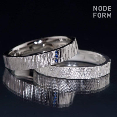 Saw Cut Texture Wedding Band With 3 Blue Sapphire Accents - by Nodeform
