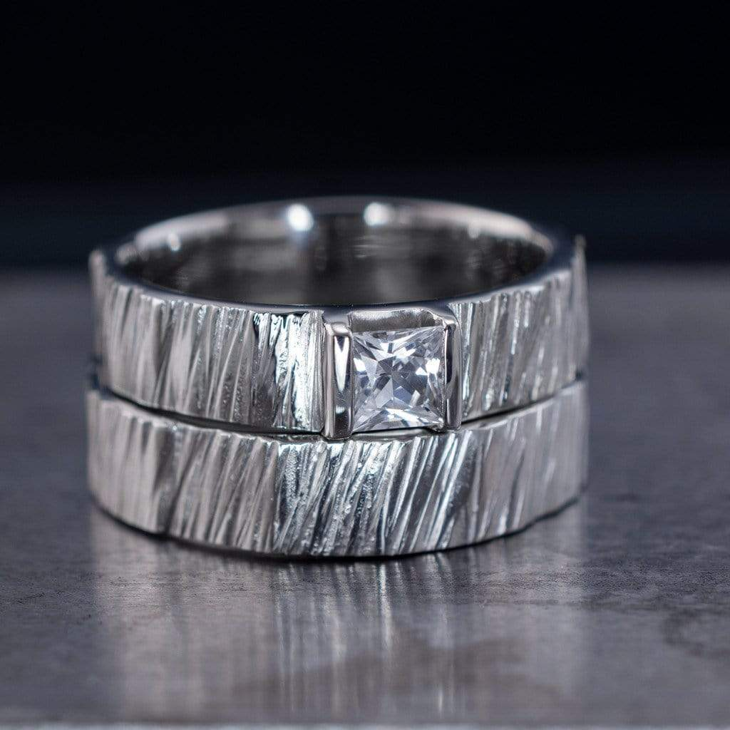 saw cut textured wedding ring set with princess cut white sapphire - Wedding Ring Princess Cut