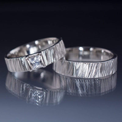 Saw Cut Textured Wedding Ring Set with Princess Cut White Sapphire - by Nodeform