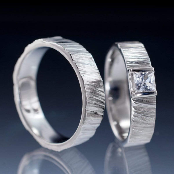 Saw Cut Textured Wedding Ring Set with Princess Cut White Sapphire